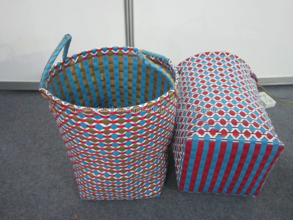 Colorful Woven Plastic Basket With Handles Plastic