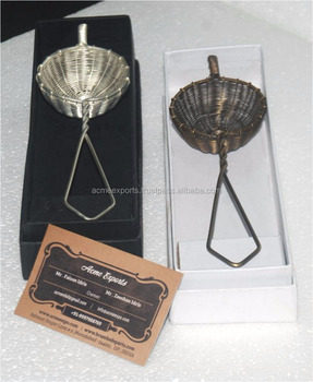 Tea Strainer Brass antique and silver plating finish