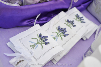 Hand Embroidered Lavender Sachet Bag Pillow Fl Embroidery Design 19 Bags Cotton Linen