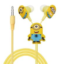 50pcs/lot Despicable Me Minions Cartoon Cute In-ear Earphone 3.5 mm Jack Headphone Headset for Mobile Phone MP3 CD Player iPod