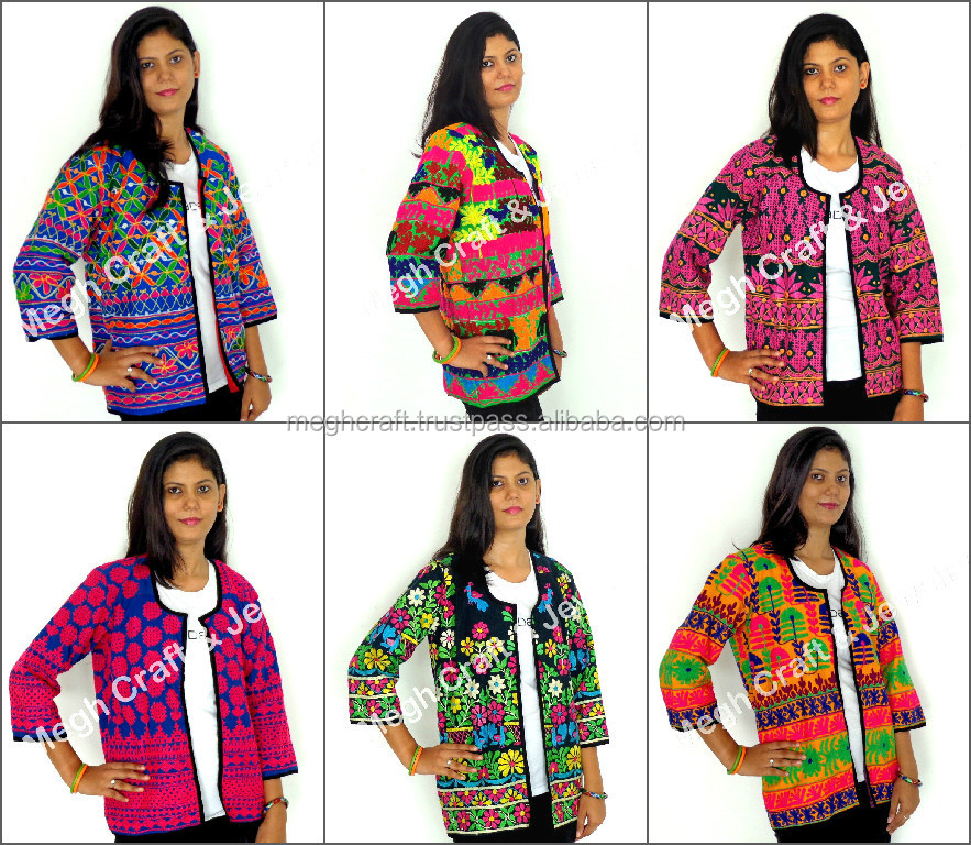 Indian embroidered jackets - Kutch embroidery jacket - ladies embroidered jackets coats-Embroidered waistcoats
