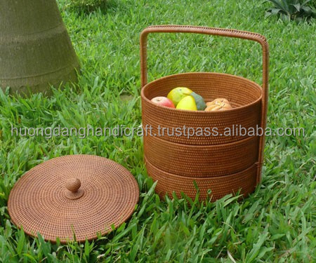 Korean style rattan basket, lovely basket for picnic