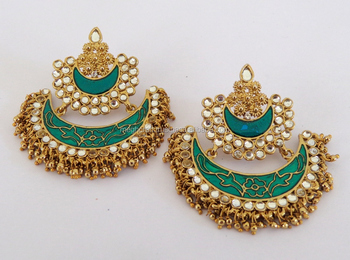 17320b573 2015 Punjabi Chandelier Earrings-Wholesale meenakari Earrings-Kundan  Punjabi Wedding Jewelry-imitation Pearl
