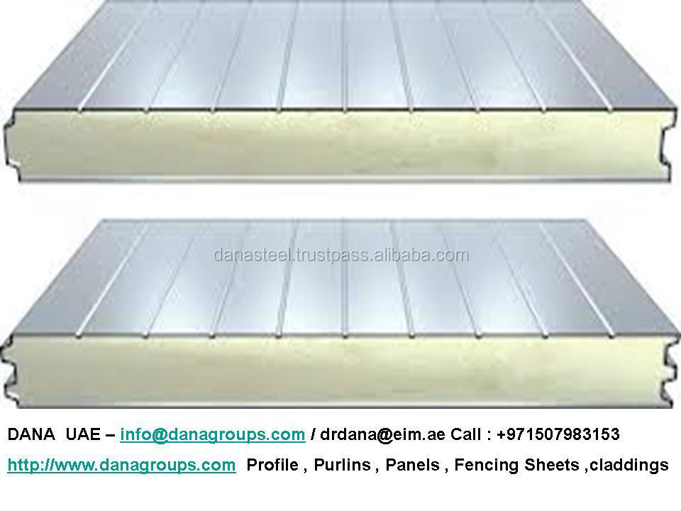 Flat Corrugated Sandwich Panel Supplier Fire Rated Pu
