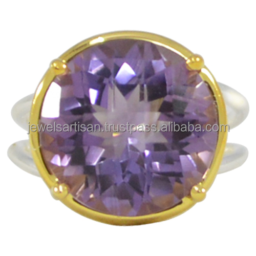 Amethyst Gemstone With 925 Sterling Silver Gold Plated Prong Set Designer Ring Anniversary Gift Jewelry