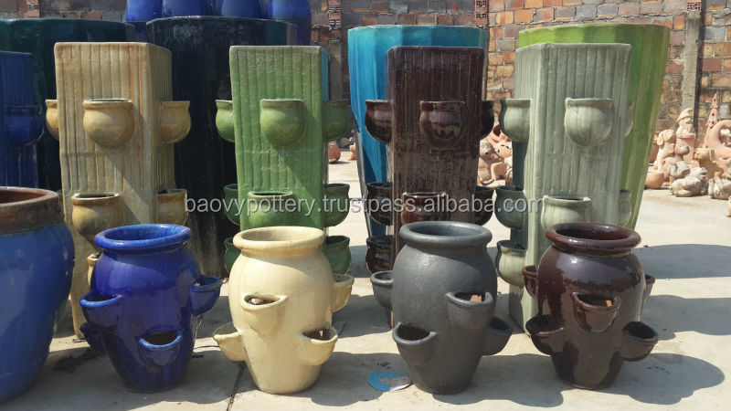 Viet Nam Pottery Supplier Blue Round Glazed Outdoor Ceramic Pottery For Garden  Pots And Decorative