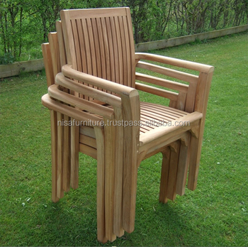 Teak Outdoor Garden Patio Beach Stacking Chairs For Dining And
