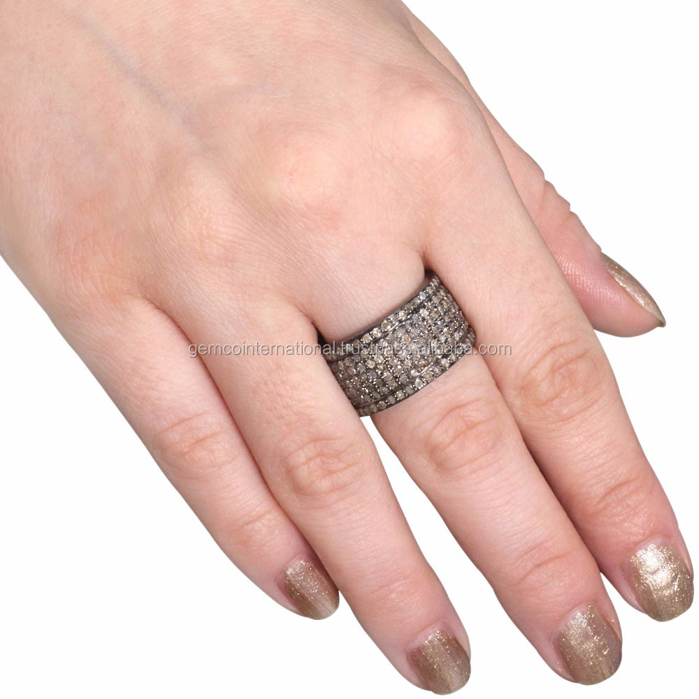 3.4 Ct Pave Diamond Eternity Engagement Wide Cigar Band Ring 925 ...