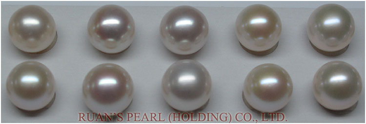 11.5-12 mm B Grade Very Blemish Round Cream White Pearl Pair