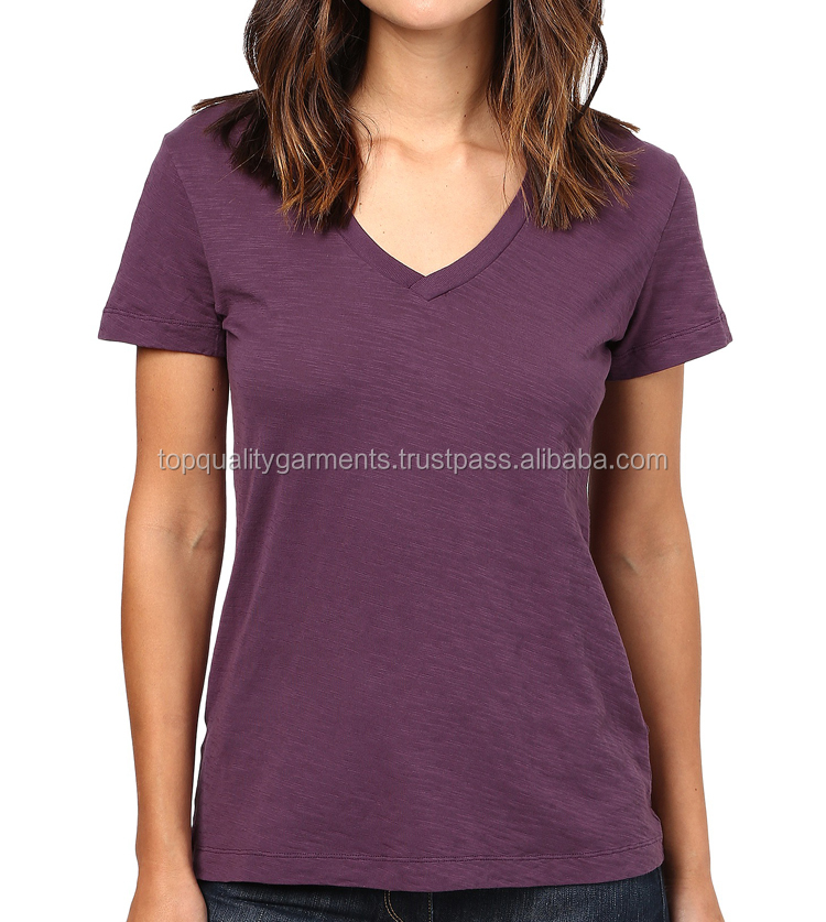 Sexy Fashion T-shirt High Quality Women Girl Ladies Short Sleeve Embroider Tee V Neck OEM Customize Print