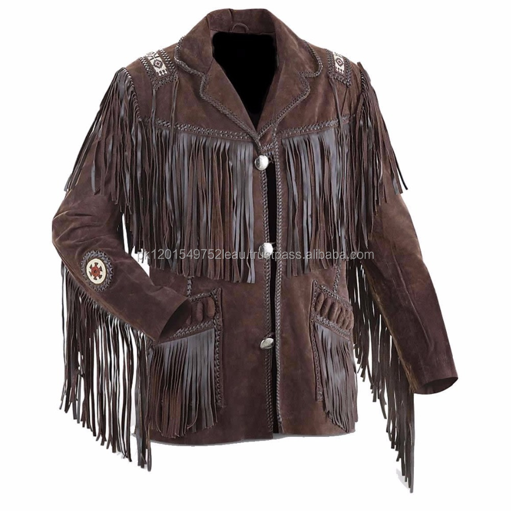 New Western Men Leather Chocolate Brown Coat / Jacket