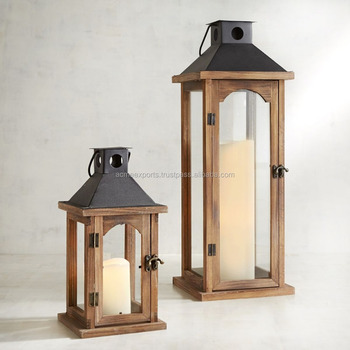 Wooden Lantern Set Of 2 | Wooden Lantern With Metal Top