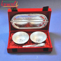 Flower design silver plated brass serving tray spoon diwali & indian wedding gifts for guests