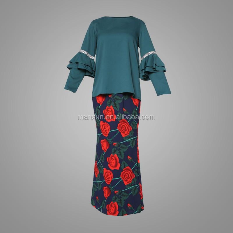 Malaysia Baju Kurung Ruffles Design Sleeves Kebaya Rose Printing Abaya Beaded Baju Kurung Suits