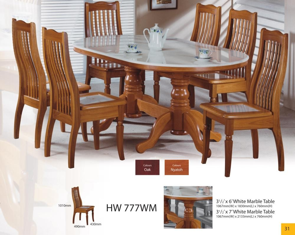 Modern asian design solid wood dining table chairs with for Modern marble dining table