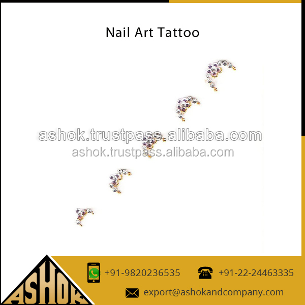 Impeccable Design Temporary Glitter Nail Sticker Tattoo for Bulk Purchase Nail Polish Sticker Exporter