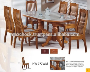 Modern Asian Design Solid Wood Dining Table Chairs With Natural Marble Top Hw 777wm