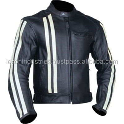 Genuine Leather Motorcycle Racing Professional Biker Jacket color black and white