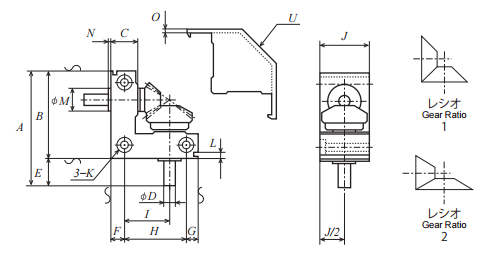 Small bevel gearbox BE55L-002