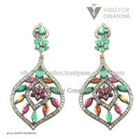 14 Kt gold beautiful diamond color stone victorian 92.5 starling silver earring