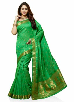green banner tussar silk saree