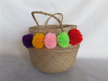 Attractive Natural Seagrass Belly Basket With Pom Pom Foldable ...