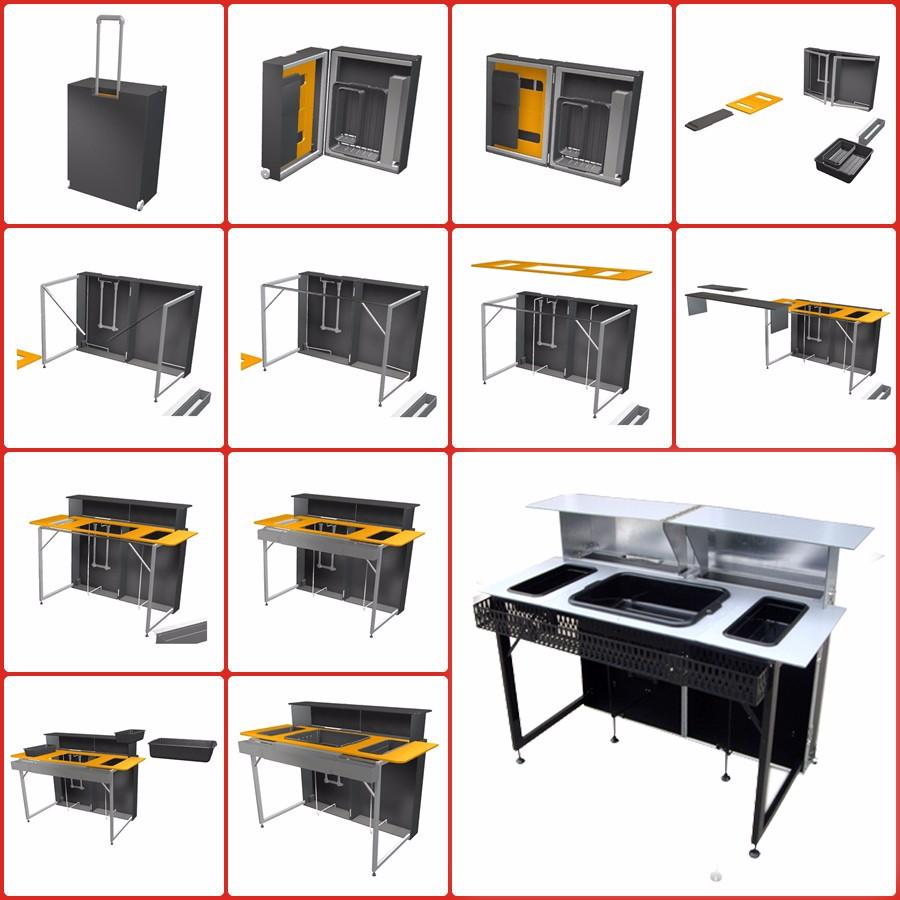 Portable Counter Space : Suitcase transformer portable folding bar cocktail counter