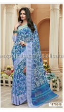 Efficacious Sky Blue Georgette Designer Saree/Buy Indian designer sarees for Women