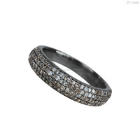 925 Sterling Silver Unique Jewelry Pave Diamond Band Ring