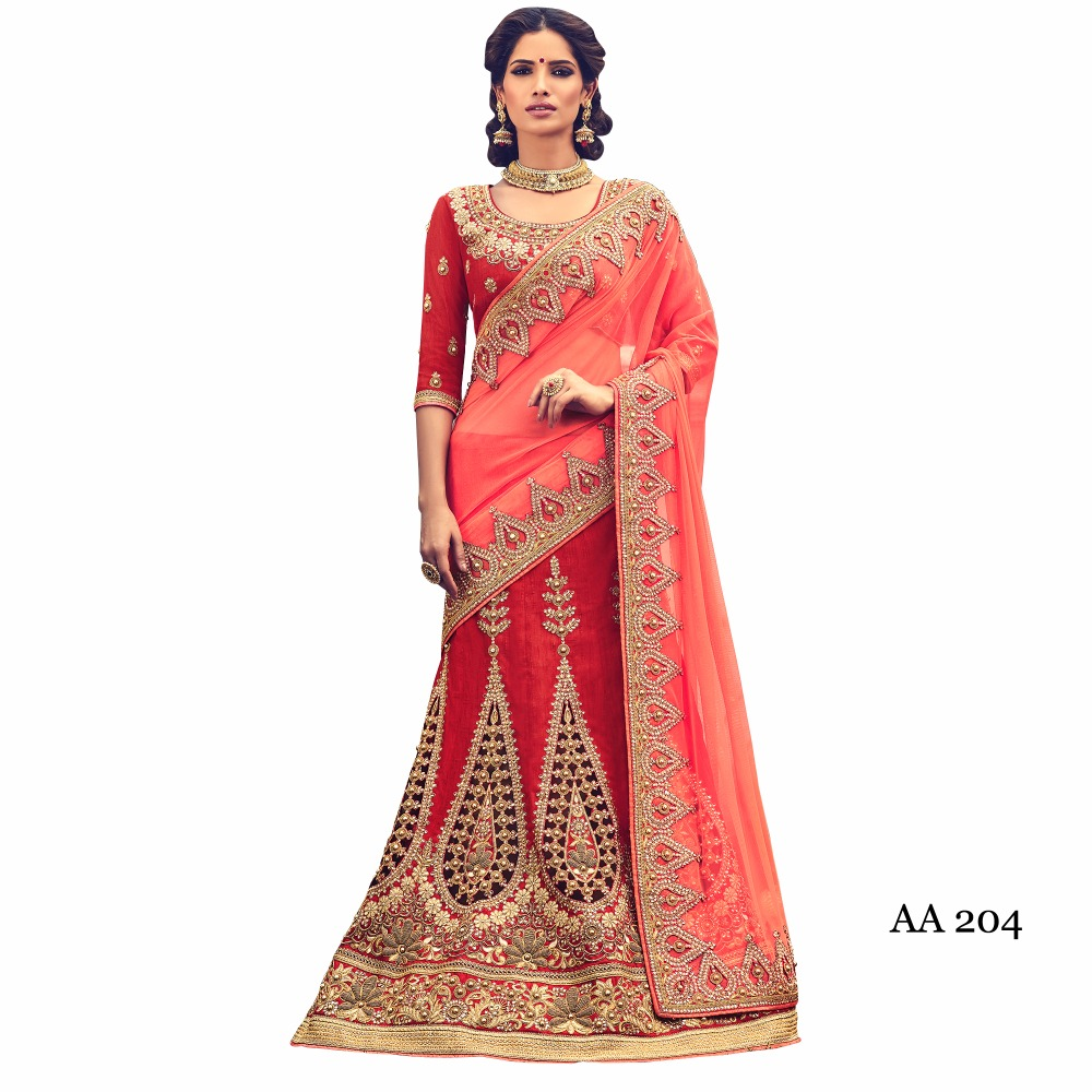 Picth and red color net and dupion zari and Resham work sarees with fancy lace border