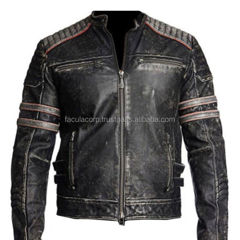 New Fashion Mens Biker Vintage Motorcycle Distressed Black Retro ...