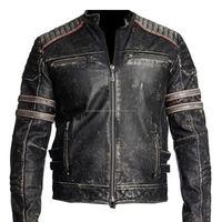 New Fashion Mens Biker Vintage Motorcycle Distressed Black Leather Jacket FC-7856