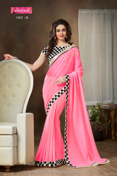 e2b156cea3 Saree With Chiffon Fancy Blouse And Lace Party Wear Designer Georgette  Plain Sari Shari