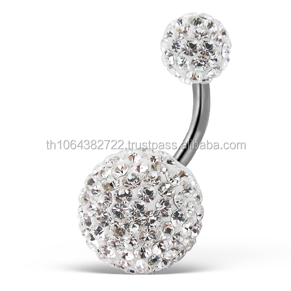 14g Barbell Surgical Steel 12 mm and 6 mm Ferido Crystal Preciosa Ball Beads Belly Piercing Women Navel Jewelry Wholesale