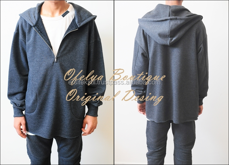 Winter Essential Raw Half Zip Hoodie / Oversized Men's Sweater Drop Shoulder / RearNeck Badge Kanye Hoodie