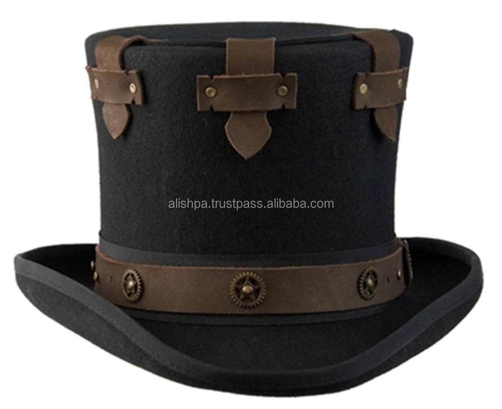 NEW Conner Hats STEAMPUNK Australian Wool Secret Compartment MAD HATTER Top Hat