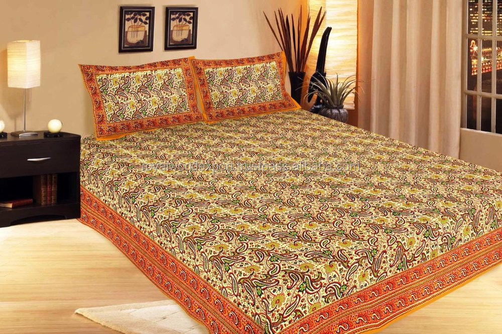Indian Cotton Fl Flat Sheet Full Fine Luxury Colorful Bedding Bed Printing