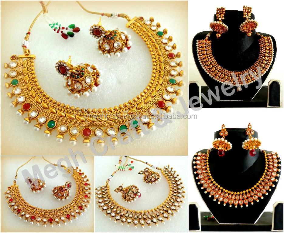 Wholesale Gold Plated Kundan Jewelry Heavy Real Kundan