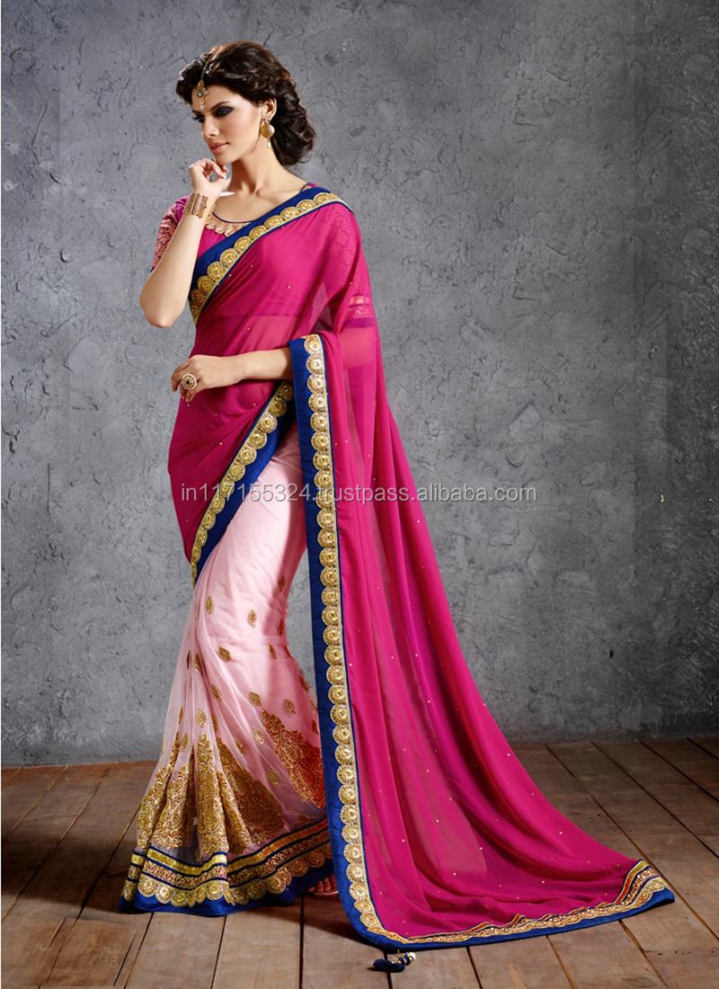 Party Wear Chiffon Sari Wholesale Designer Embroidery Saree Saree