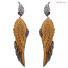 14k Gold Bone Angel Wings Dangle Earrings Silver Diamond Designer Gemstone Carving Jewelry