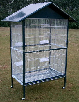 Image is loading STAMFORD-2-PARROT-CAGE-ANTIQUE-OPEN-TOP-AFRICAN-