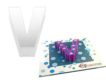 small letter v birthday cake tin