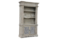 Reclaimed Wooden Grey Color Antique Style Wall Shelf With Drawers