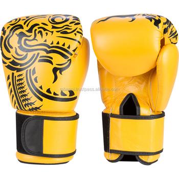 90a826b08 Poder De Fogo Muay Thai Luvas De Boxe De Couro Amarelo - Buy Luvas ...