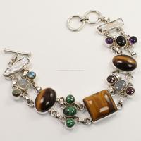 Beautiful Real Multi-Color Gemstones Bracelet 925 Sterling Silver