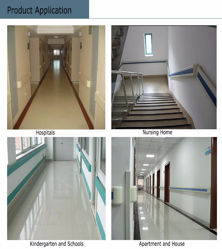 Pvc Wall Handrails : Pvc hospital hallway wall mounted handrail height buy