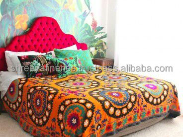 Very Fine quality Suzani Embroidery Bed cover Boho Decor Boho Bedsheets