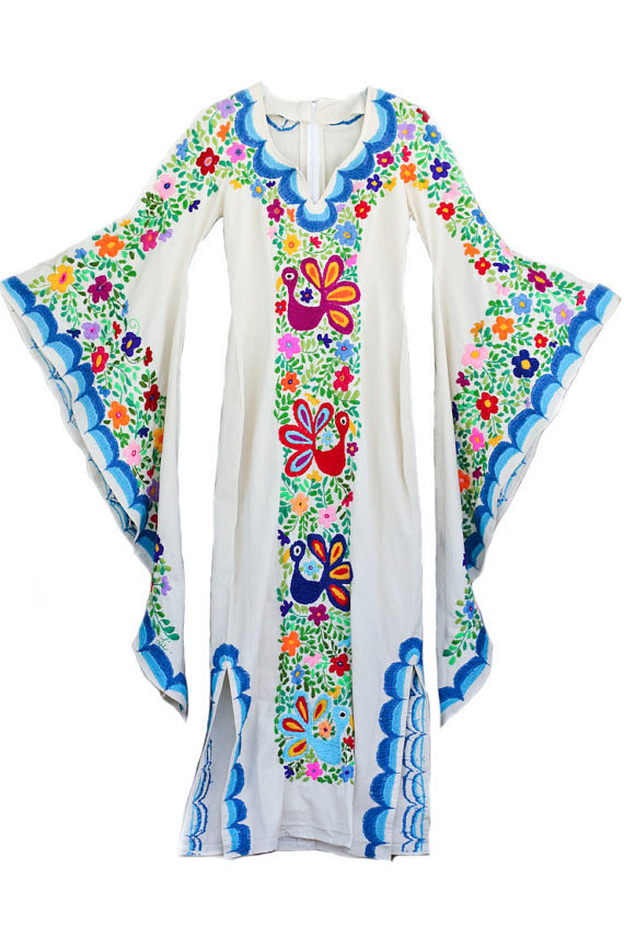 Wedding Dress Bohemian w/Mexican Embroidery Women Batwing Sleeve Over Size Blouse Tops Loose Cotton Long Kaftan