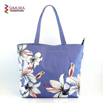 Tote Bag With Fl Pattern Silk Screen Print