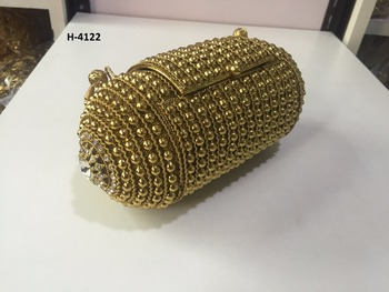 H4122 Handmade Metal Clutch Ladies Gold Or Silver Evening Handbags ...